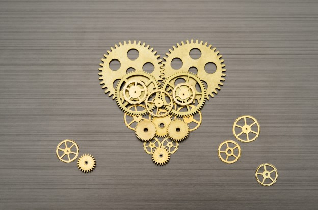 Heart made out of gears and cogs